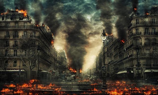 hořící město